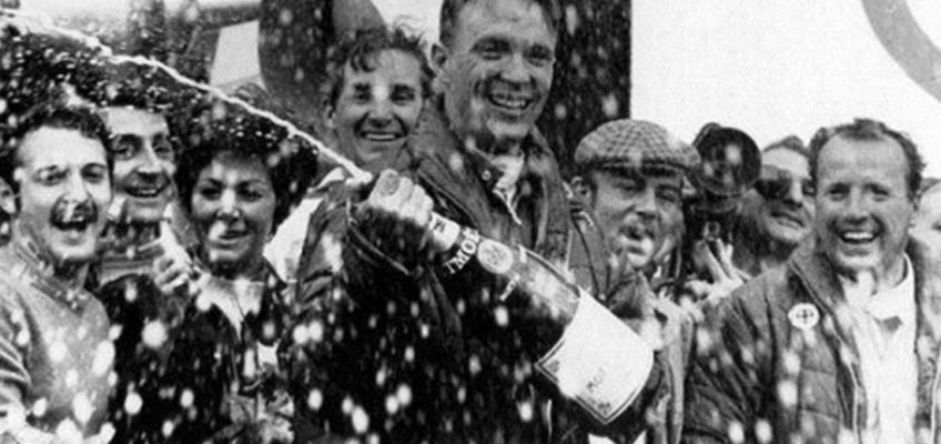 The birth of the champagne spraying tradition in Motorsports
