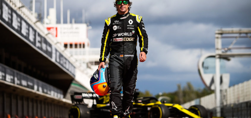 Fernando Alonso gets back behind the wheel of an F1 car